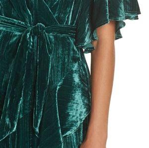 BB Dakota Dresses - BB Dakota Night Fever Green Velvet Wrap Dress